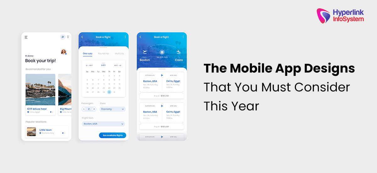 the mobile app designs that you must consider this year